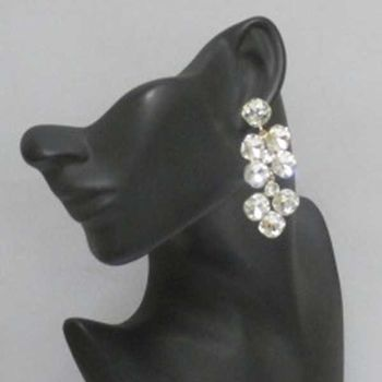 pierced earrings dangling crystal flower