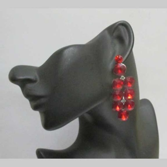 red crystal square dangling earrings