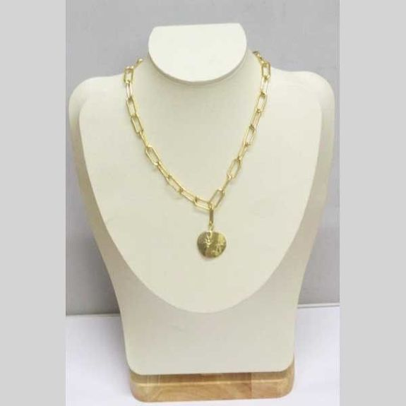 chain mesh pendant circle stainless steel gold