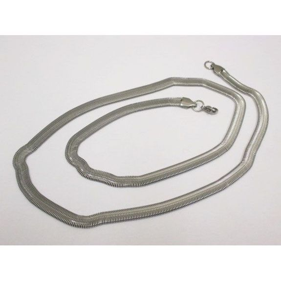 steel flat snake link necklace