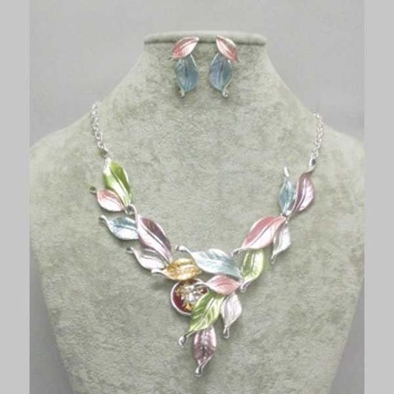 enamelled leaf jewelry set in all colors