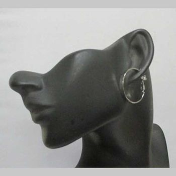 small rhodium-plated hoops
