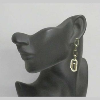 gold crystal paperclip earrings