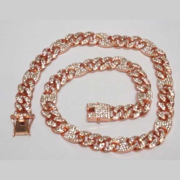 necklace pink gold ice jewelry