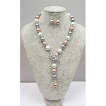 collier perle multicolore reglable