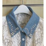 fake denim lace shirt collar