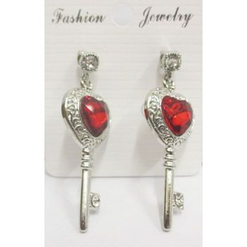 heart stone key earrings