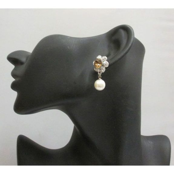 fancy crystal earring and pendant pearl