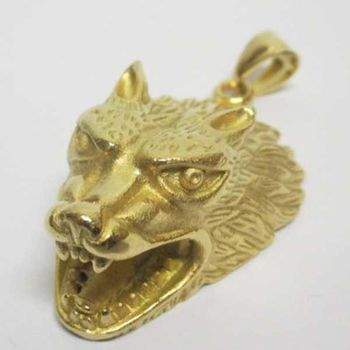 golden wolf head pendant