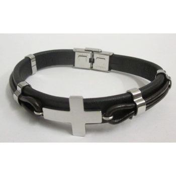 engraved cross men's steel bracelet