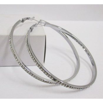 buy steel rhinestone hoop earrings