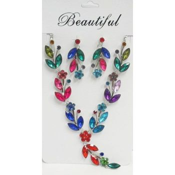 multicolored crystal flower jewelry necklace wholesaler