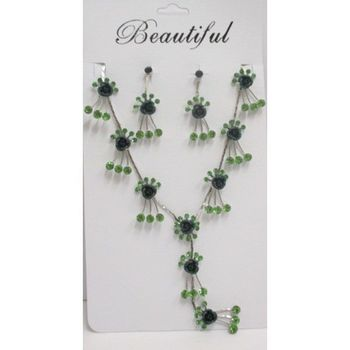 green crystal flower jewelry