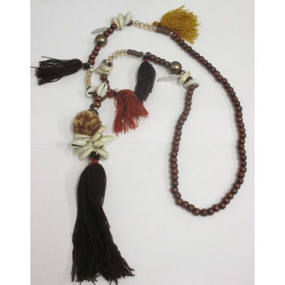 brown pearl necklace with shell and tassel