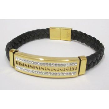 wrist jewelry man leather golden steel