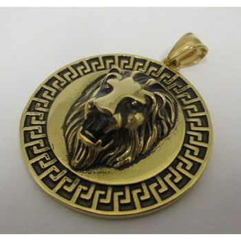 Gold round lion head pendant