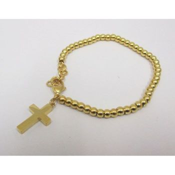 golden steel cross bracelet