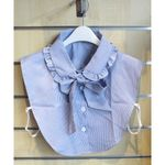 faux collar shirt with stripe with ribbon