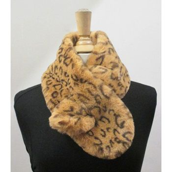 Fake fur leopard cross scarf