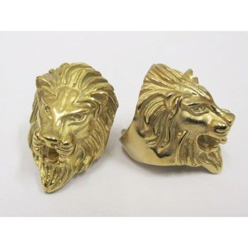 golden lion in steel ring