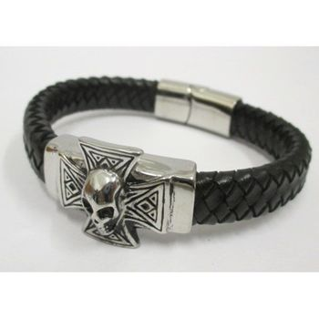 leather bracelet man skull cross biker steel