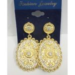 earring clips woman in crystal gold
