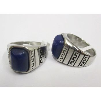 man ring steel blue stone wholesaler