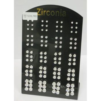 zirconium earrings of all sizes on display