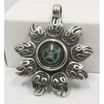 steel pendant with integrated compass