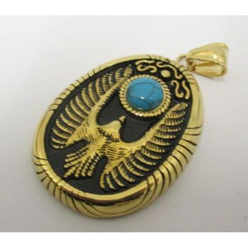 eagle medallion in gilded blue stone