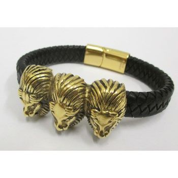 steel leather bracelet 3 lion's head