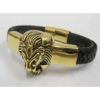 braided bracelet leather lion