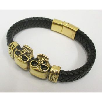 leather bracelet 2 skulls in gold