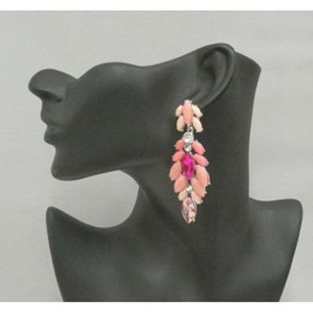 Fancy pink pendant earrings