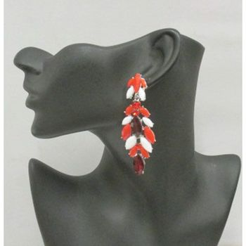 African red and white fantasy earring