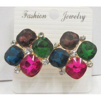multicolored square clip earrings