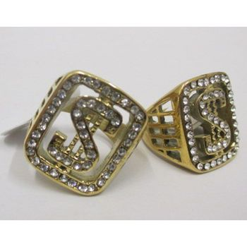 dollar man signet ring with rhinestones