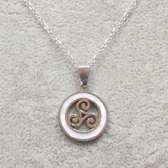 mother of pearl triskel pendant