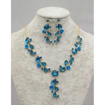 Jewelry necklace earrings in blue crystal
