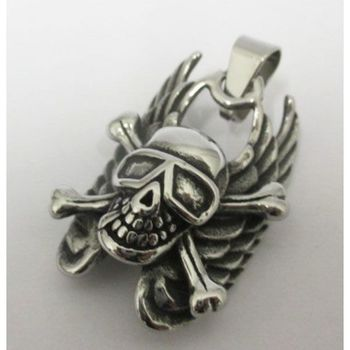 skull and crossbones pendant in stainless steel