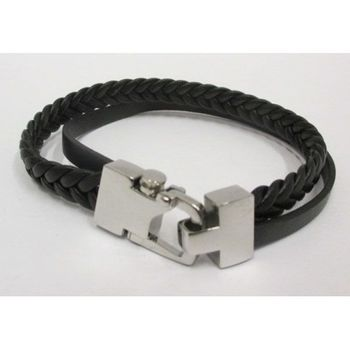 leather bracelet 2 rows clasp steel