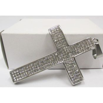 hip hop pendant jewelry: cross crystal steel