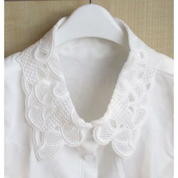 fake white blouse collar with lace on collar