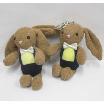 keychain plush rabbit bowtie