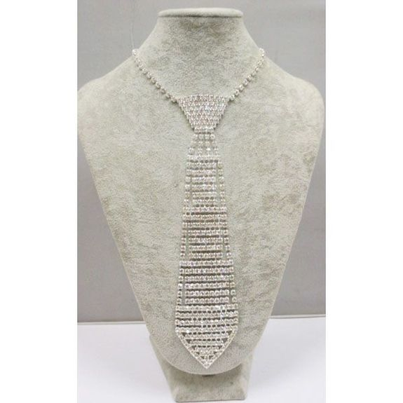 collier cravate cristal grande taille