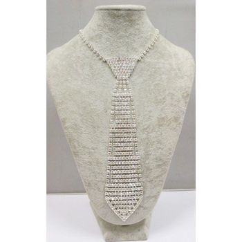 large crystal tie necklace