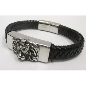 Men's Braided Leather Bracelet Stainless Steel Lion Head