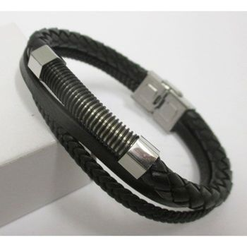 men's double leather cord bracelet