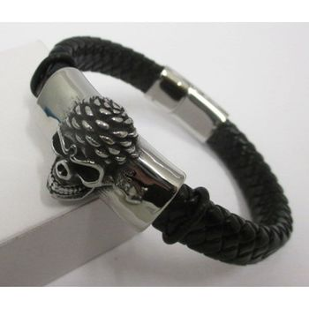 Braided leather bracelet black steel death head