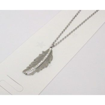 steel leaf pendant necklace